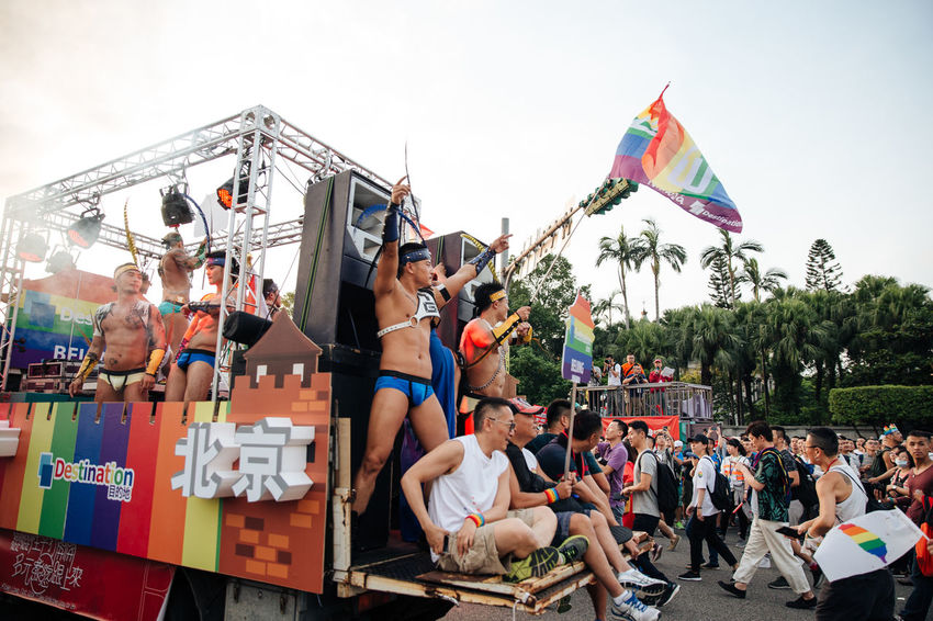 Taipei, Taiwan - Oct 28, 2017: Hundreds of thousands came out on streets of Taipei for the 15th Taiwan Pride Parade. The parade started marching from Ketagalan Boulevard to three different avenues and made Taipei even more colorful with all shades of rainbow. This year's goal is to promote inclusive education as it would lead to better acceptance. Taiwan is about to be the first in Asia to officially legalize 'equal marriage'. LGBT Rainbows LGBT Parade Taipei Pride Taiwanese Gay Parade   Gay Pride Parade Gaypride Lgbt Lgbt Flag Lgbt Pride Lovewins Pride2017 Prideparade Rainbow Flag Taiwan Pride Taiwanpride Taiwanpride2017 This Is Queer Summer Exploratorium Focus On The Story The Troublemakers Love Is Love
