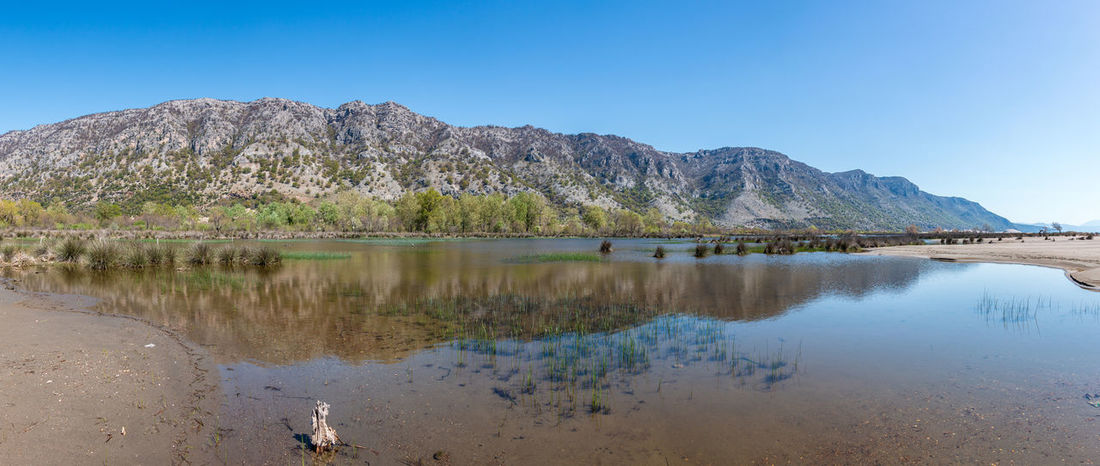 Albania Panorama Shengjin Beauty In Nature Blue Clear Sky Day Idyllic Lagoon Lake Mountain Mountain Range Nature No People Outdoors Reflection Scenics - Nature Sky Tranquil Scene Tranquility Tree Water