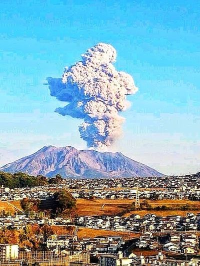 Volcanic Eruptions/Sakurajima-island,Kagoshima Japan. Mic◯y Mouse Shilhouette
