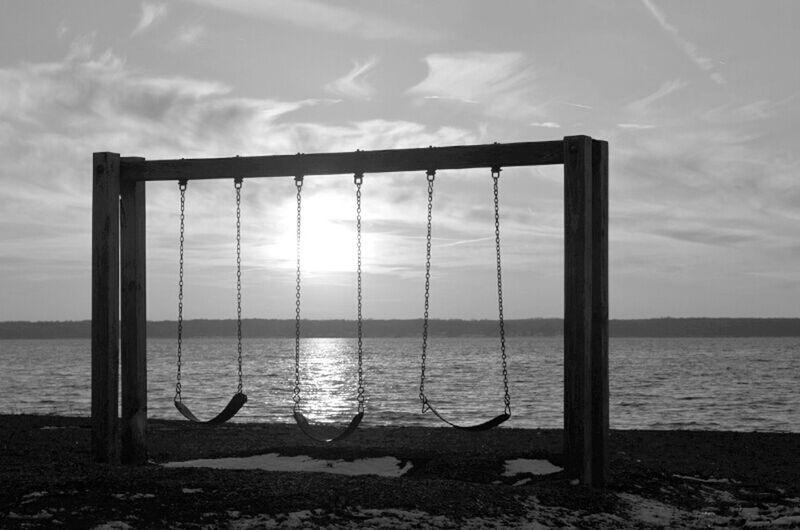 Blackandwhite Peace And Quiet Lake Swings Pennsylvania Pymatuning