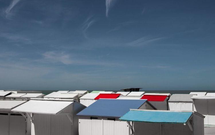 Beach Hut Sea Bredene Oostende, Belgium Oostende Strand Blankenberge Blankenberge, Belgium ♡ De Haan De Haan Belgium Zee Zand Changing Cabin Boulevard Architecture Sky Sunlight Low Angle View