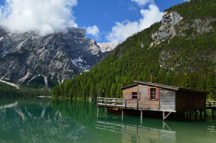 Mountain Landscape Lake Tree Reflection Water Tranquility Sky No People Nautical Vessel Scenics Outdoors Nature Cloud - Sky Day Boathouse