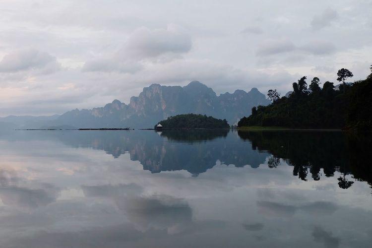 Like a mirror Khaosok Keeree Tara Chiewlarn Resort Ratchaprapa Dam Ban Ta Khun Cheow Lan Reflection Water Sky Lake Tranquil Scene Scenics Nature Waterfront Beauty In Nature Mountain No People