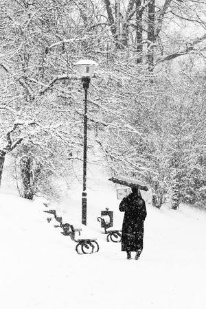 Nun Black And White Blackandwhite Petrïn Snow Snowy Walking Umbrella