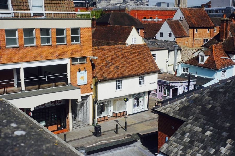 Outdoor Street Day Town Architecture Urban Skyline Blue Sky Rooftops Roof Roof Tile Rooftop View  Colchester