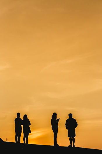 People Together Silhouette Sunset Sunrise