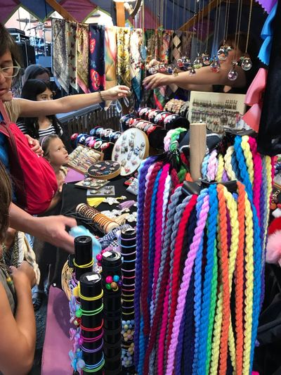 Colores Colores Artesania Puestos Callejeros Medievales Ayllón Multi Colored Market For Sale Retail  Choice Women Market Stall Real People Clothing Textile Jewelry Shopping