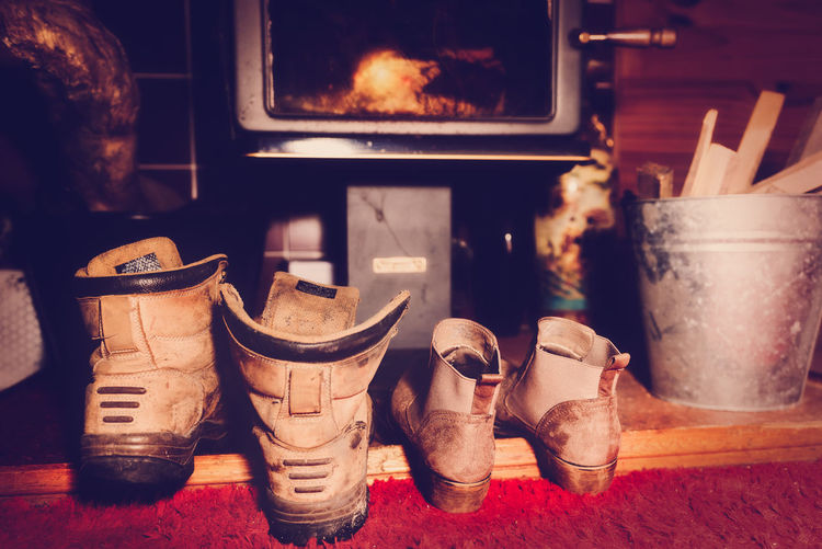 Close-up of footwear at home
