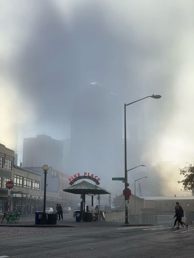 Foggy Morning Morning Pikes Place Market Fog Sky Street Architecture City Built Structure Cloud - Sky Building Exterior Sign
