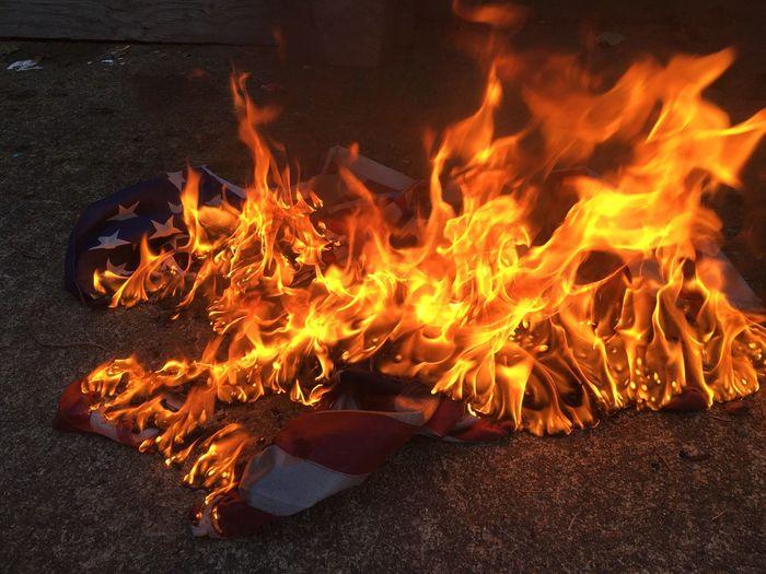 Close-Up Of Burning Flag