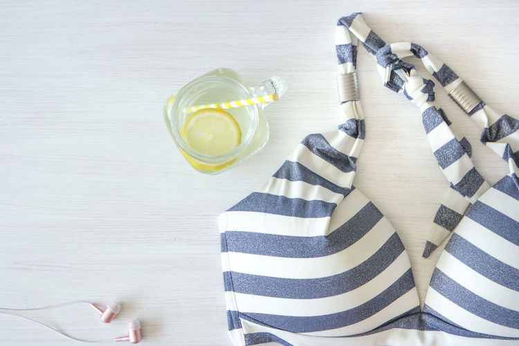 Bikini Top Glass Of Water Summertime Vibes Beach Beach Day Citrus Fruit Directly Above Drink Drinking Glass Drinking Straw Earplugs Flat Lay Glass Paper Straw Refreshment Straw Striped Swimming Time Table Water Wood - Material