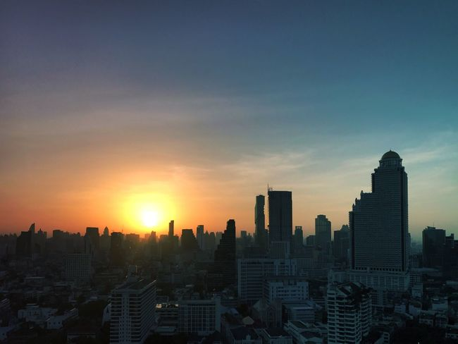 Travel Photography Cityscape Sunrise Skyscraper Sunlight Modern No People Urban Skyline Travel Destinations Bangkok City Architecture Day Outdoors Sky Sun Built Structure Building Exterior The Week On EyeEm Paint The Town Yellow
