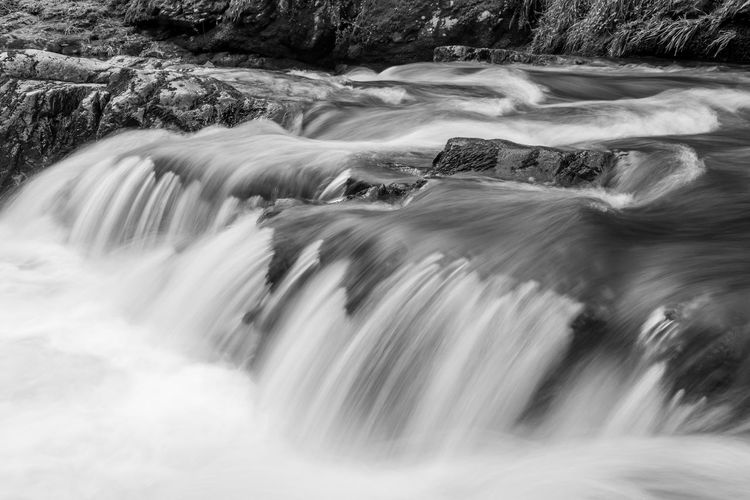 Long exposure of a waterfall on the east lyn river at watersmeet in exmoor national park