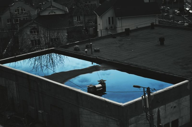Water Roof Puddles Black And White Photo Blue Blue Water City Moldova Morning No People ☔☔☔ 😍😌😊 ⛅️⛅️⛅️