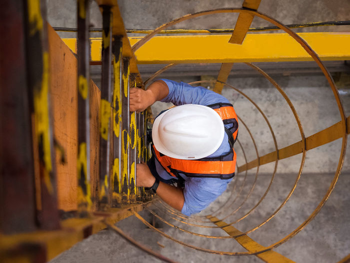 High angle view of construction worker
