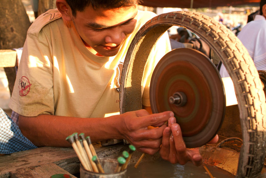 Mandalay Adult Burma Day Human Hand Indoors  Men Myanmar Occupation One Person People Real People Semi-precious Stones Working Workshop Young Adult