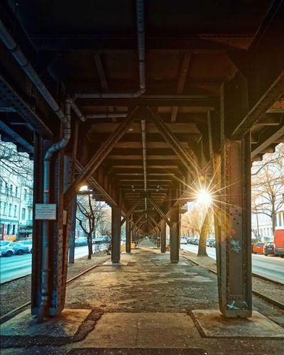 Interior of illuminated bridge