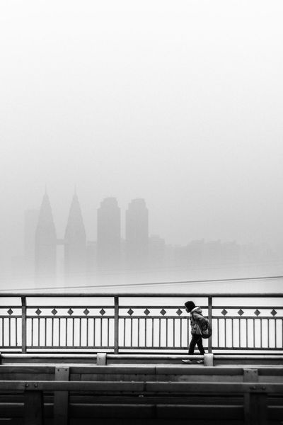 Architecture Bridge - Man Made Structure Building Exterior Built Structure China City Cityscape Day Fog Full Length Mammal Men Nature Outdoors People Railing Real People Rear View River Sky