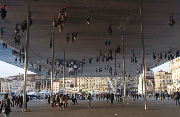 Marseille Mirror Image Open Place Outdoor People Vieux Port