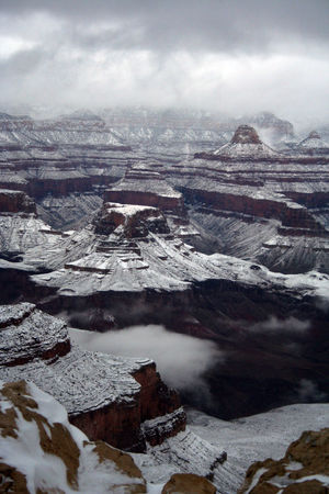 Frosted Temples Grand Canyon National Park Winter Winterscapes Day Landscape Nature No People Scenics Snow Snowcapped Mountain South Rim Tranquil Scene Tranquility Travel Destinations Weather Winter
