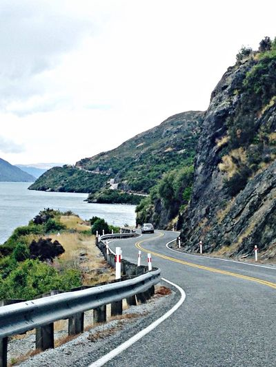 On The Road Traveling New Zealand Scenery Lake View