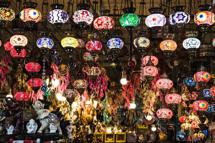 Bazaar Close-up Cultures Hanging Illuminated Indoors  Large Group Of Objects Lighting Equipment Market Multi Colored Night No People Variation