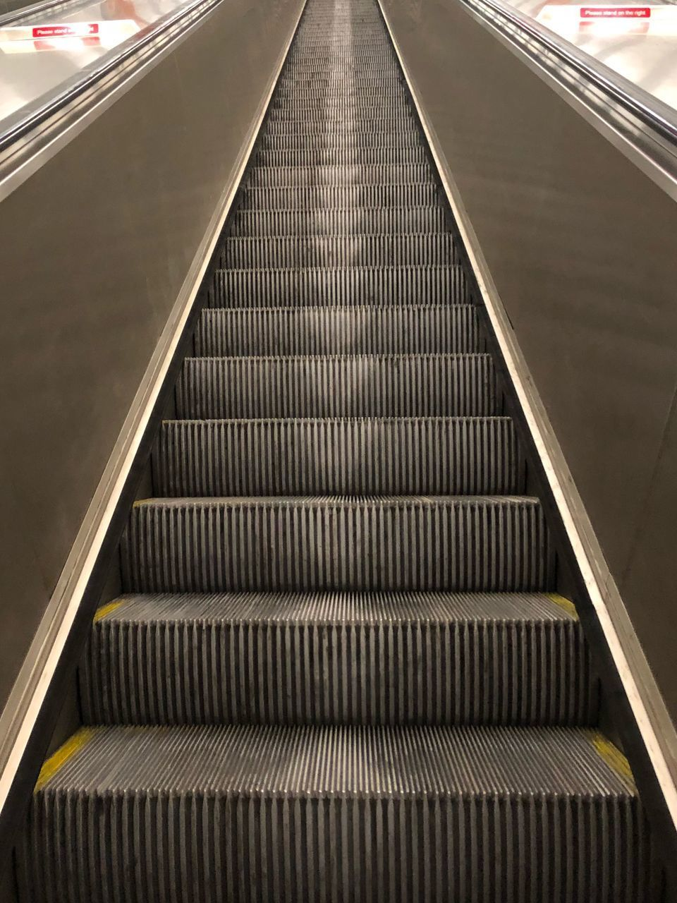 escalator, staircase, steps and staircases, steps, railing, moving up, transportation, modern, indoors, the way forward, convenience, technology, futuristic, subway station, direction, illuminated, built structure, station, architecture, subway train, no people, day, city, close-up