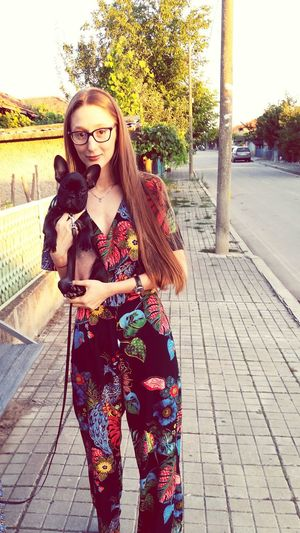 Fashion Lifestyles Young Women Women Adult Young Adult Only Women Adults Only People One Person Outdoors One Woman Only Portrait Full Length Day One Young Woman Only City Puppy❤ Buldog Hello World Special Moment I Love My Dog