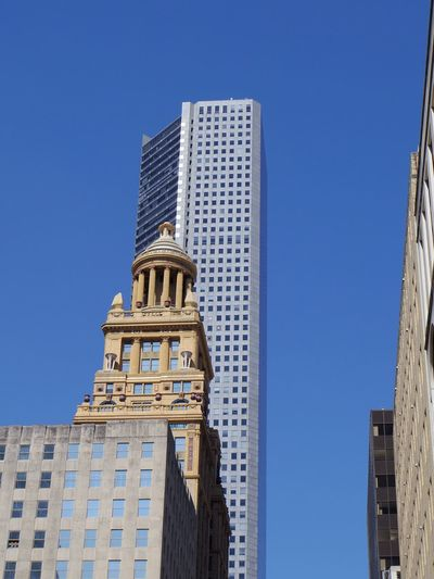 Architecture Building Exterior Built Structure Tower Skyscraper Low Angle View Blue Clear Sky Day No People Outdoors Modern City Tall Sky Downtown Houston Texas Houston