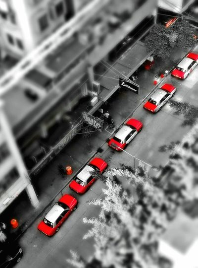 Red Taxis Mobilephotography Colorsplash High_Angle Quicksnap Urban Street Photography