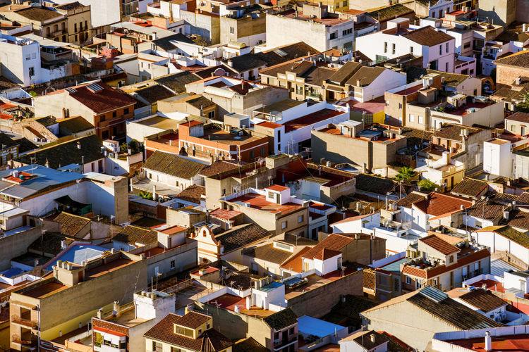 Chaotic cityscape. high angle view of buildings in city. almenara, castellon province, spain