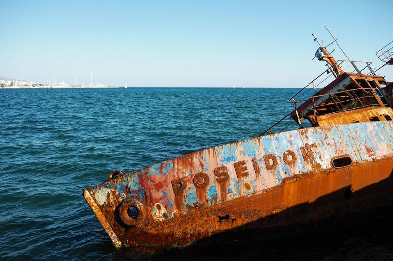Sea Nautical Vessel Rusty Ship Horizon Over Water Water Clear Sky Beach Day Outdoors Nature No People UnderSea Sky Sailing Ship Offshore Platform Oil Pump