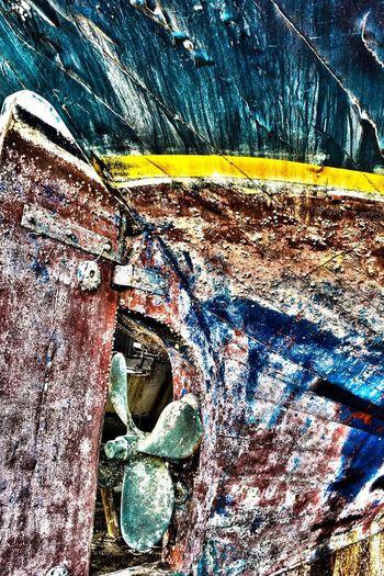 Full frame shot of old abandoned boat