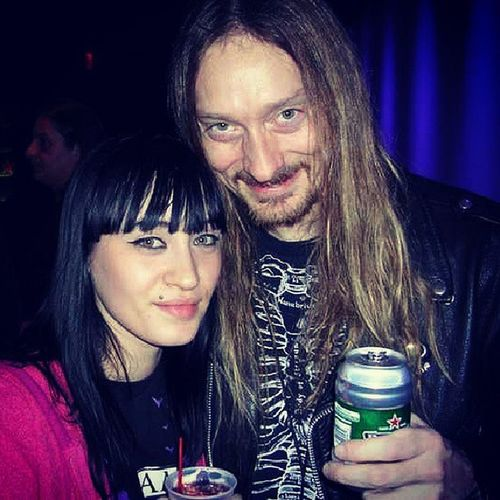 I forgot about this picture. It's from the Roadrunnerrecords anniversary/Xmas party at the Nokiatheater in NYC forget the year. But this is Steveasheim from deicide back when I used to work for @earacherecords I'm all sweaty and gross, ick. But it was an awesome night.....I miss Steve and Uncle Glen.....always were incredibly sweet gentlemen to me. Oh memories.....