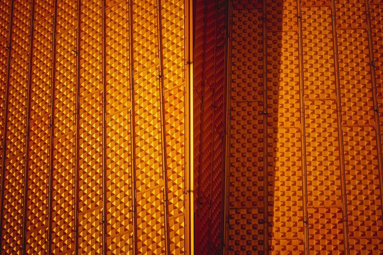 Full frame shot of patterned metallic door