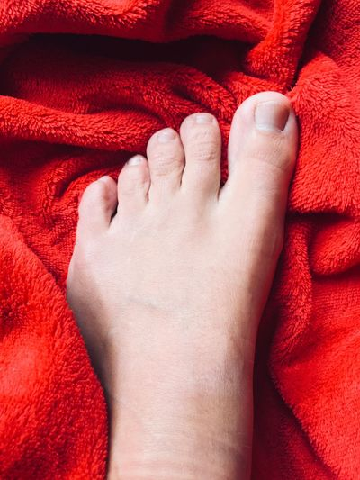 Low section of baby feet on bed