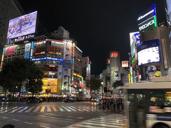 Shibuya Shibuyascapes City Street Crossing Shibuya Crossing Illuminated Night