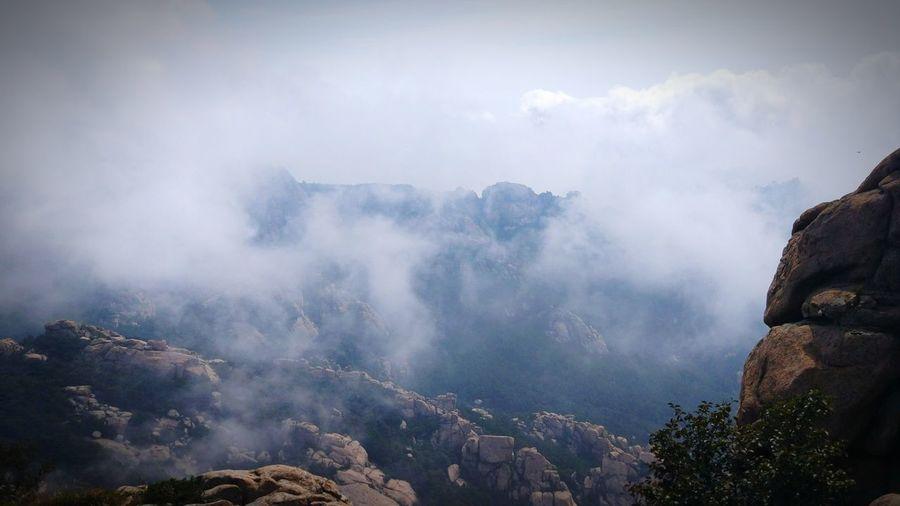 崂山 Mountain Tree Cloudy Mountain Peaks