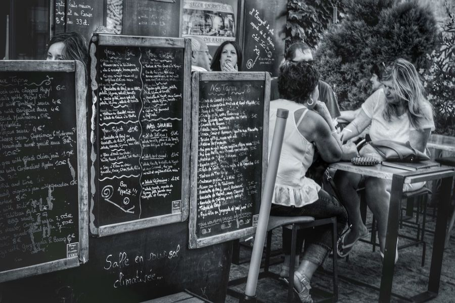 Menu. Sitting Light And Shadow Streetphoto Streetphoto_bw Blackandwhite Streetphotography Cafe Menu Carcassonne Castle Historical Place