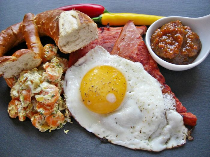 Bacon Bavarian Food Breakfast Day Egg Egg Yolk Food Food And Drink Freshness Fried Fried Egg Indoors  Meal Meat No People Prezel Processed Meat Ready-to-eat Serving Size Sunny Side Up