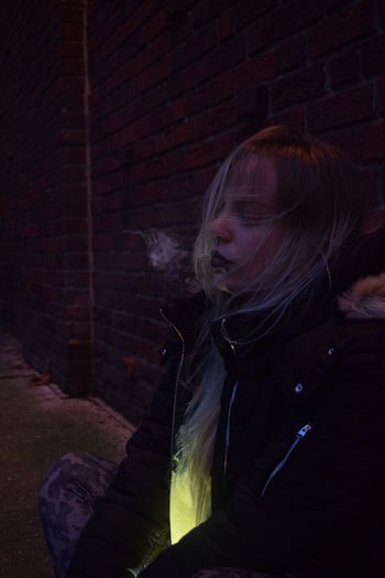 Photo from my project showing Despair. Blond Blond Hair Blonde Blonde Girl Blonde Hair Brick Wall Close-up Emo Emotion Emotional Photography Emotions Indoors  Leisure Activity Lifestyles Night Nikon Nikon D3300 Nikonphotographer Nikonphotography One Person People Real People The Street Photographer - 2017 EyeEm Awards Young Adult Young Women