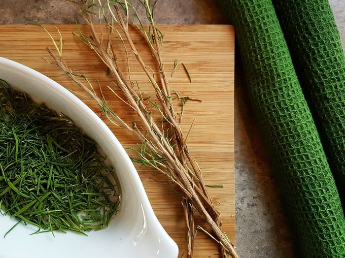 Directly Above Shot Of Dried Rosemary On Table