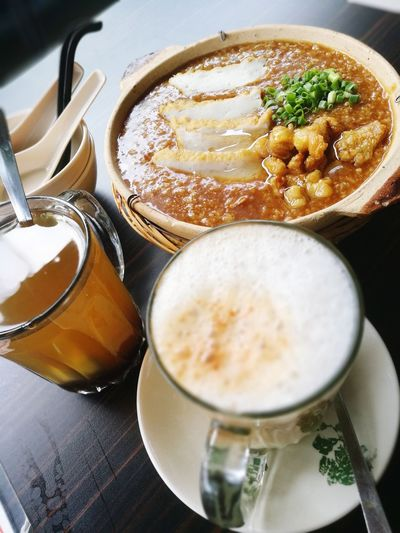Fried porridge Food And Drink Coffee - Drink Drink Coffee Cup No People High Angle View Refreshment Indoors  Food Close-up Healthy Eating Freshness Frothy Drink Ready-to-eat Day Porridge Porridge Time Fried Porridge