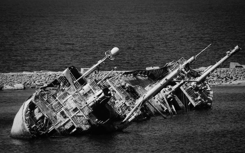 the wreck ... Abandoned Alexandria Blackandwhite Boat Broken Damaged Destruction Hafen Harbor Nautical Vessel Obsolete Old Ruined Rusty Schiffswrack Ship Transportation Water Wrack Wreck