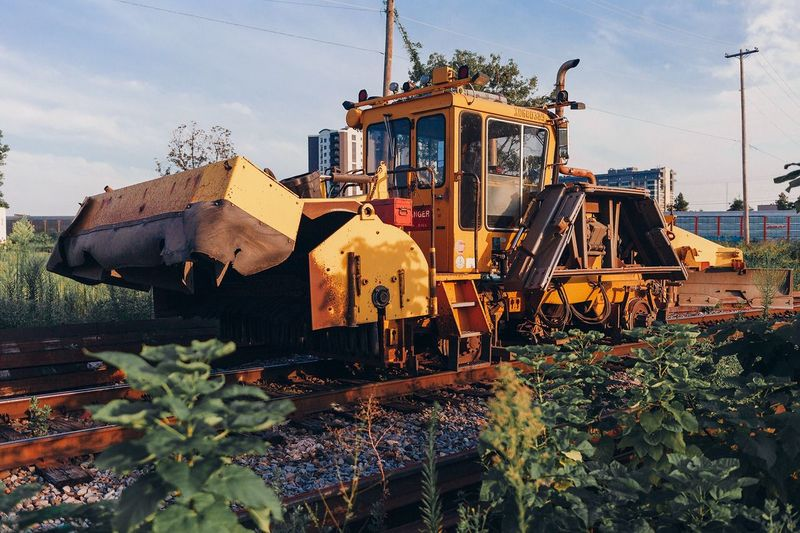 Construction Machinery On Railroad Tracks