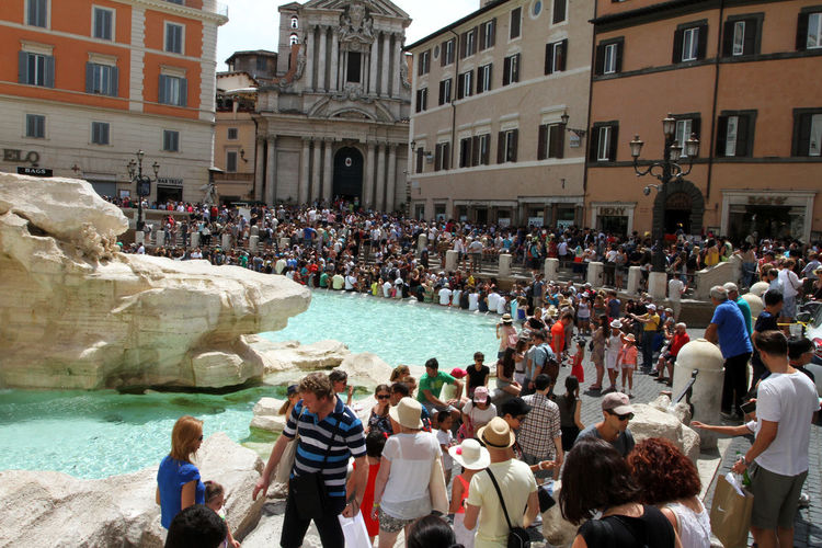 Fountain Trevi Fountain Adult Architecture Building Building Exterior Built Structure City Crowd Day Group Of People Large Group Of People Leisure Activity Men Nature Outdoors Real People Tourism Tourist Water Women