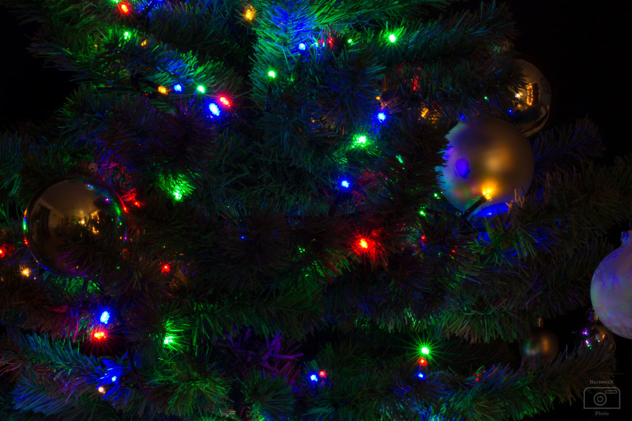 christmas, christmas tree, christmas decoration, celebration, christmas ornament, decoration, tradition, christmas lights, night, illuminated, green color, celebration event, holiday - event, no people, tree, indoors, vacations, close-up