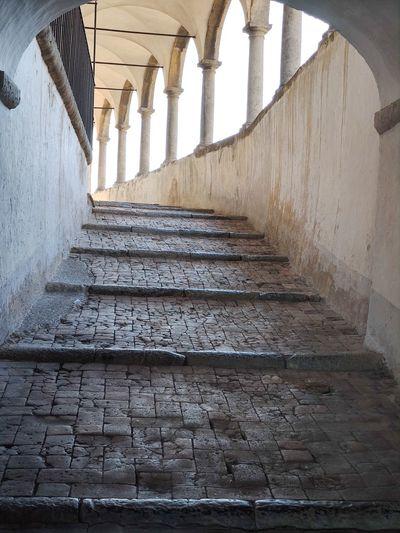 Low angle view of empty corridor