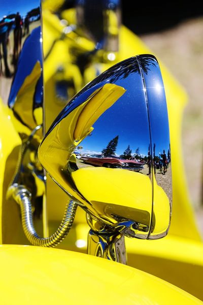 Yellow Hotrod Headlamp Chrome Yellow Blue Headlights Custom Automobile Reflection