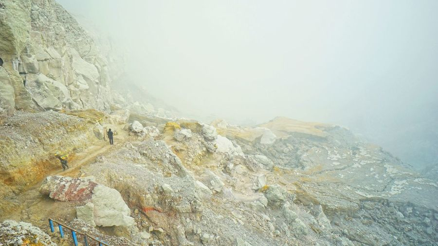 sulfur fog in Ijen crater.. Banyuwangi,Indonesia Travel Destinations Travel Photography East Java, Indonesia Tourist Destination Ijen, Banyuwangi Landscape Mountain Crater Landscape
